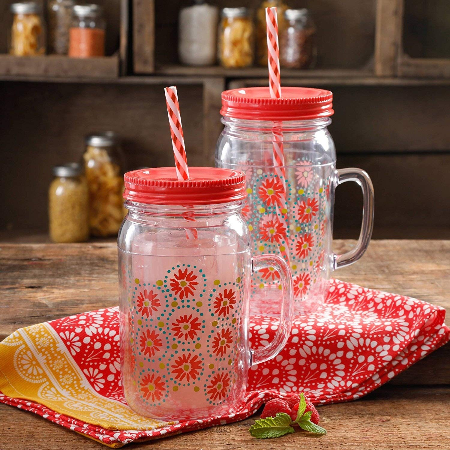 The Pioneer Woman Simple Homemade Goodness 32-Ounce Daisie Watermelon Double-Wall Mason Jar with Lid and Handle, Set of 2