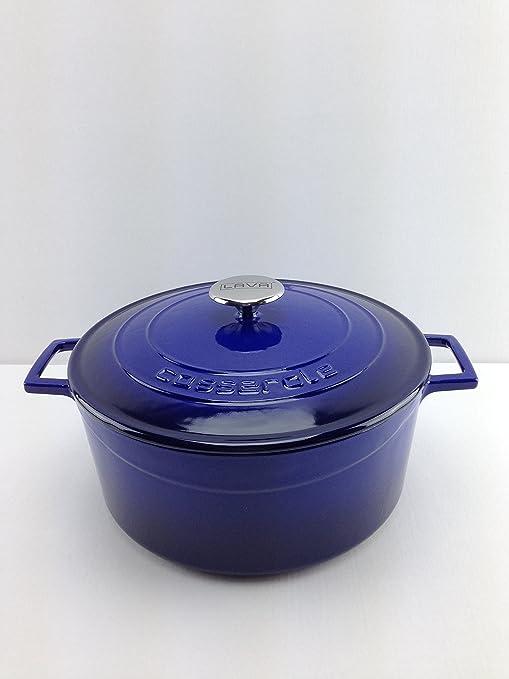 Lava Cookware Folk Hierro Fundido Esmaltada Cacerola/olla redonda, 20 cm, color azul