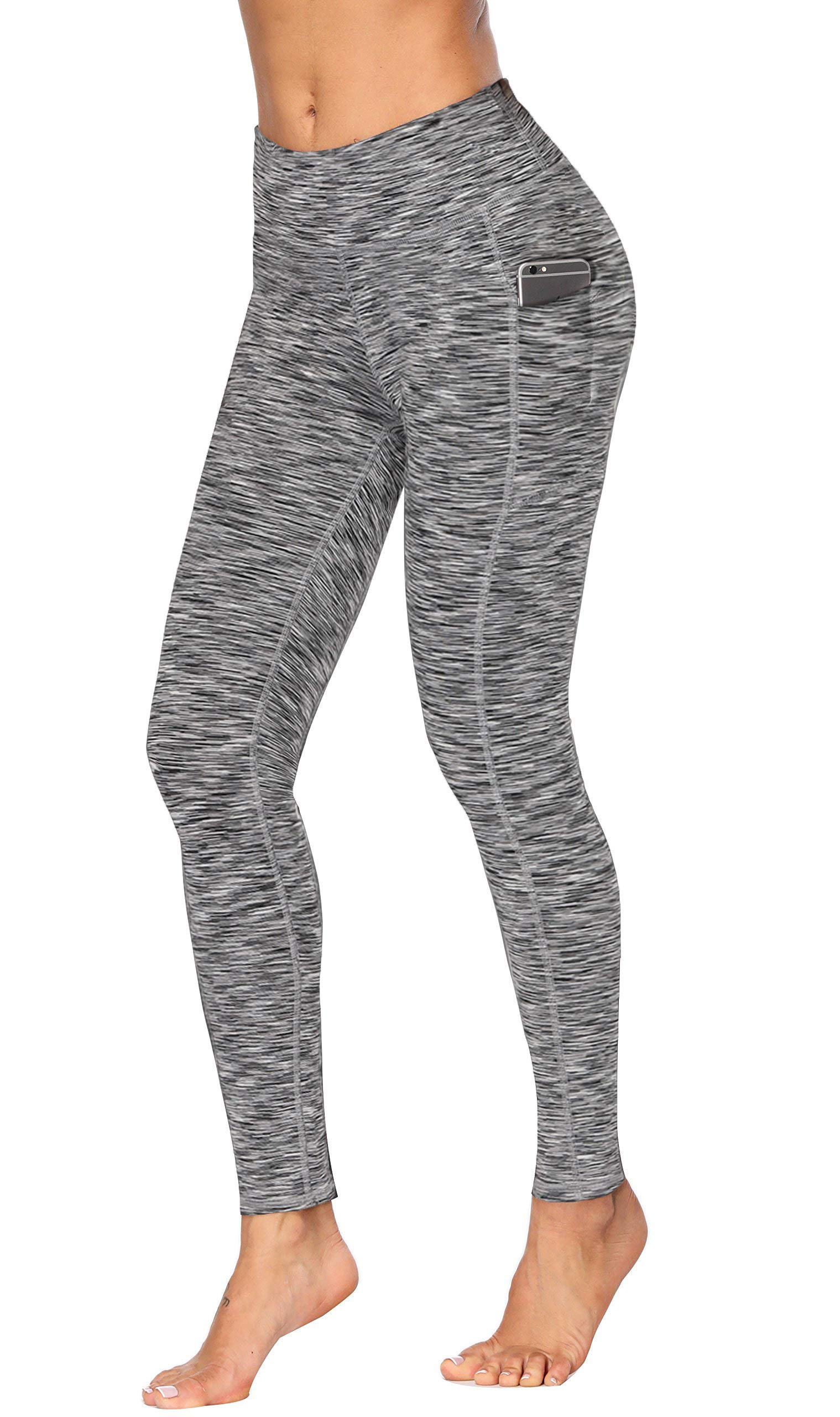 Fengbay High Waist Yoga Pants, Pocket Yoga Pants Tummy Control Workout Running 4 Way Stretch Yoga Leggings (X-Small, 1554 Gery) by Fengbay (Image #1)