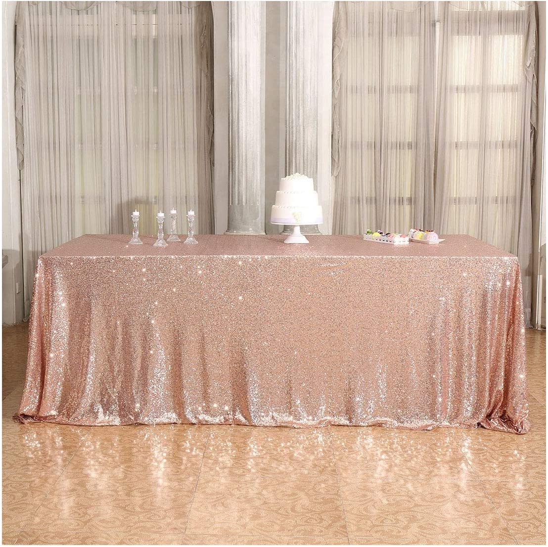 Poise3EHome 60×102'' Rectangle Sequin Tablecloth for Party Cake Dessert Table Exhibition Events, Rose Gold