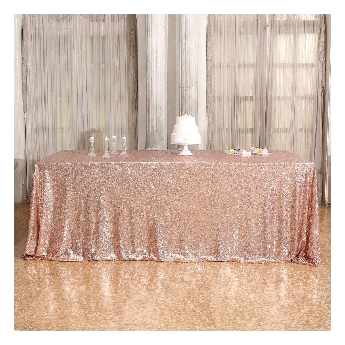 Poise3EHome 90×132'' Rectangle Sequin Tablecloth for Party Cake Dessert Table Exhibition Events, Rose Gold