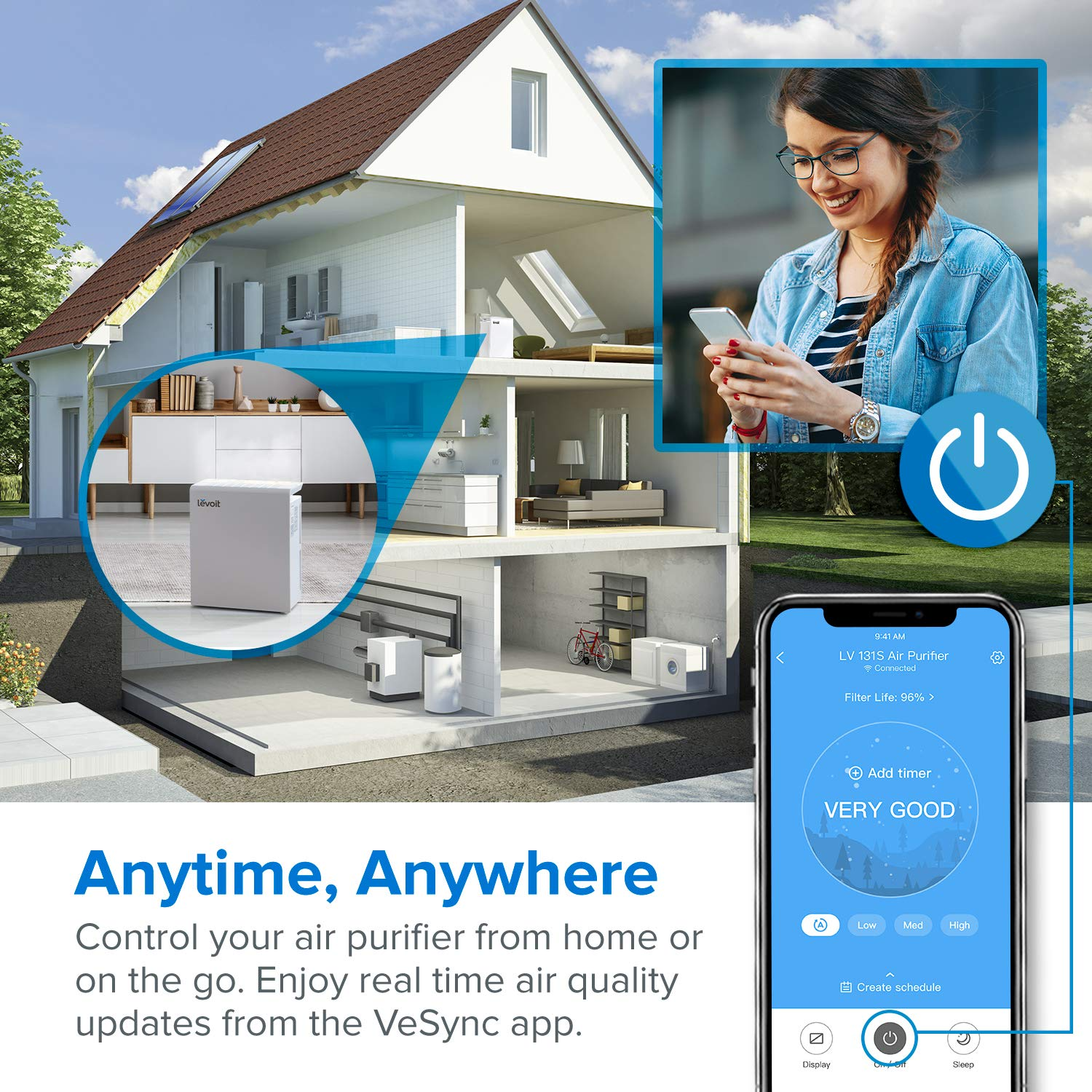 LEVOIT Smart WiFi Air Purifier for Home Large Room with True HEPA FilterAir Cleaner for Allergies