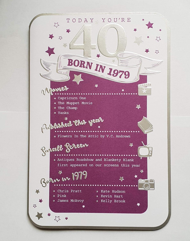 Tarjeta de felicitación de 40 cumpleaños con sobre plateado ...
