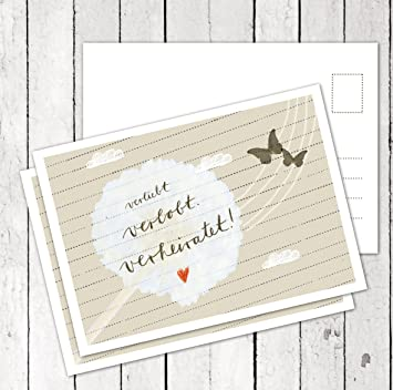 Hochzeitseinladung: Verliebt Verlobt Verheiratet, Beige,  Hochzeitseinladungskarte Einladungskarten Recyclingpapier, Mit  Druckservice: AB