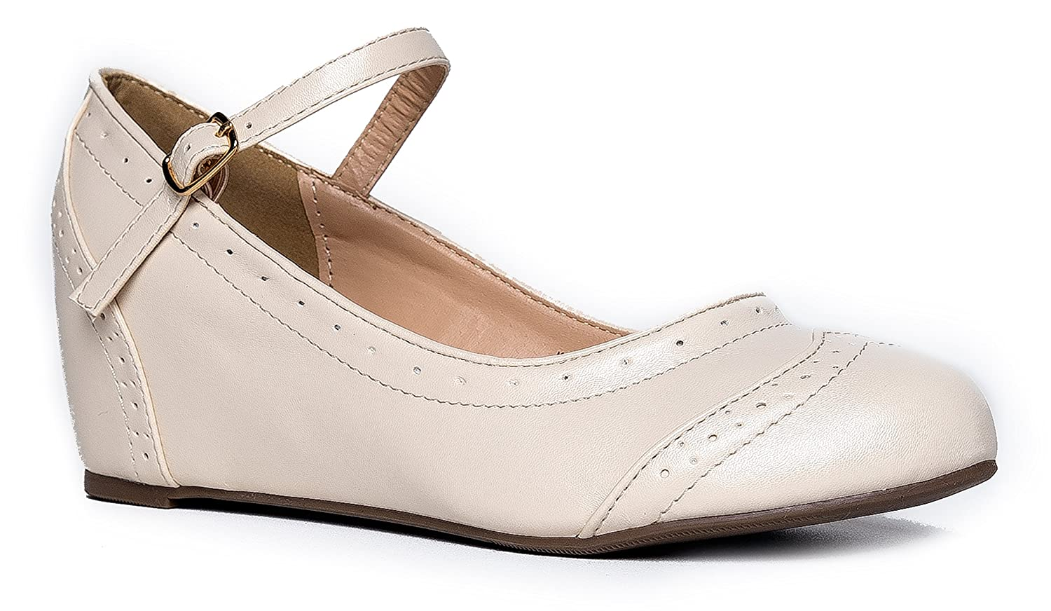 1940s Style Wedding Dresses | Classic Wedding Dresses Ankle Strap Mary Jane Wedge - Low Round Toe Retro Shoe - Cute Vintage Oxford Heel - Minnie by J Adams $27.50 AT vintagedancer.com