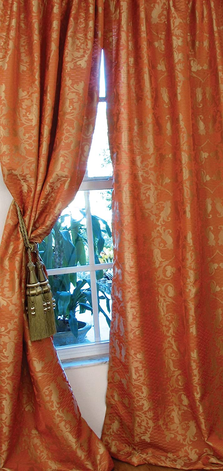 48 by 96-Inch Manor Luxe Sheridan Rod Pocket Curtain Panel Yellow