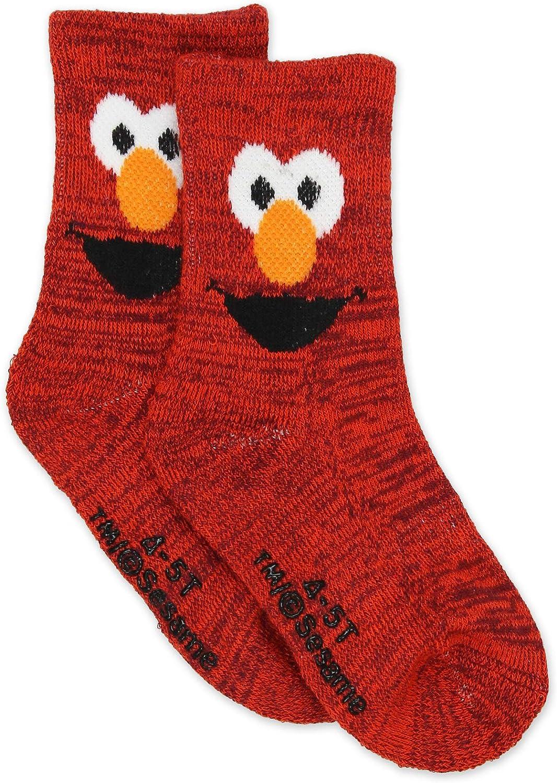 Baby//Toddler Sesame Street Elmo Boys Girls Multi Pack Crew Socks with Grippers