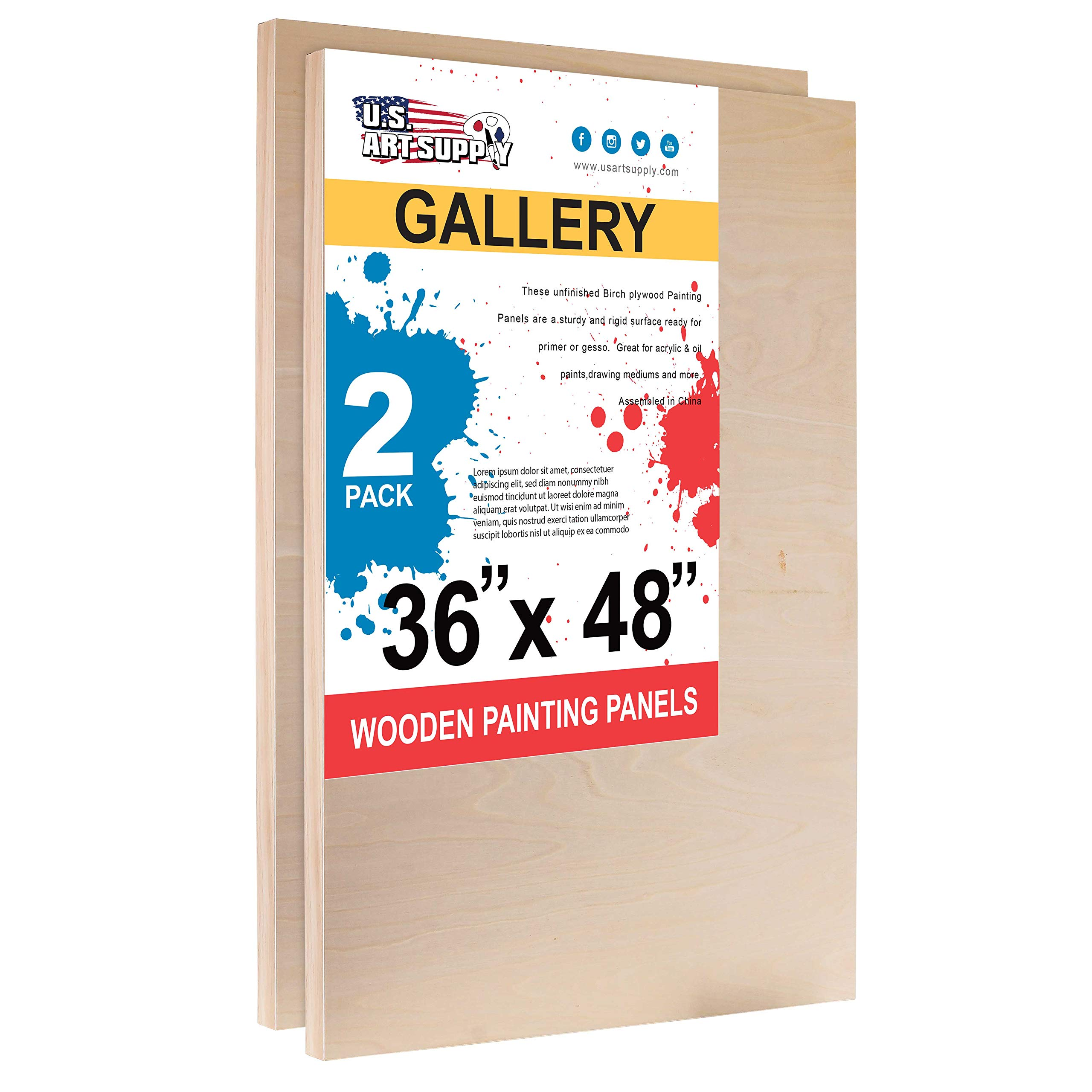 U.S. Art Supply 36'' x 48'' Birch Wood Paint Pouring Panel Boards, Gallery 1-1/2'' Deep Cradle (Pack of 2) - Artist Depth Wooden Wall Canvases - Painting Mixed-Media Craft, Acrylic, Oil, Epoxy Pouring by U.S. Art Supply