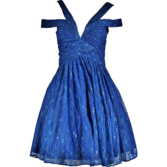 Forever Unique Lace Skater Prom Dress with in-Built Netting, Sax Blue, UK