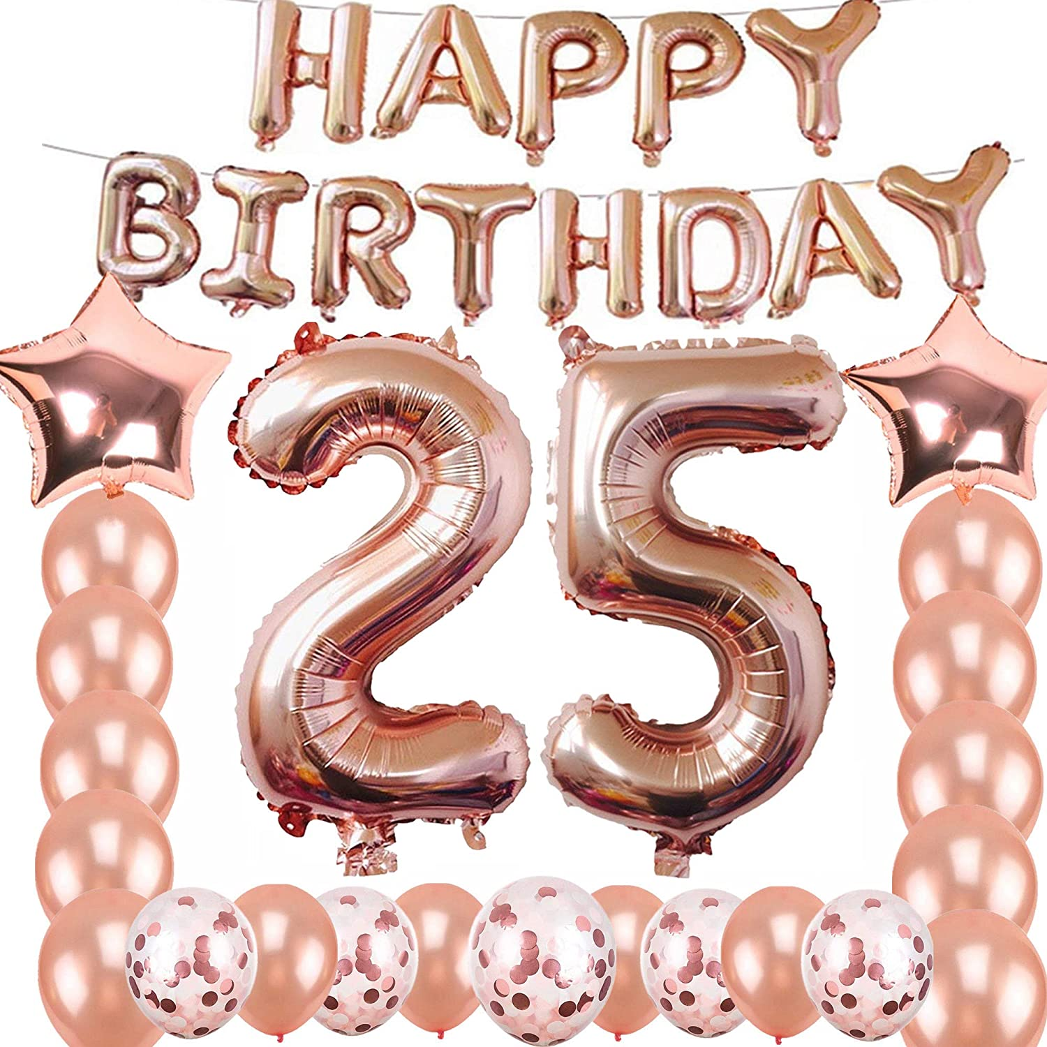 Happy 25th Birthday Decorations Rose Gold 25th Birthday Party Supplies 25th Number Balloons/Rose
