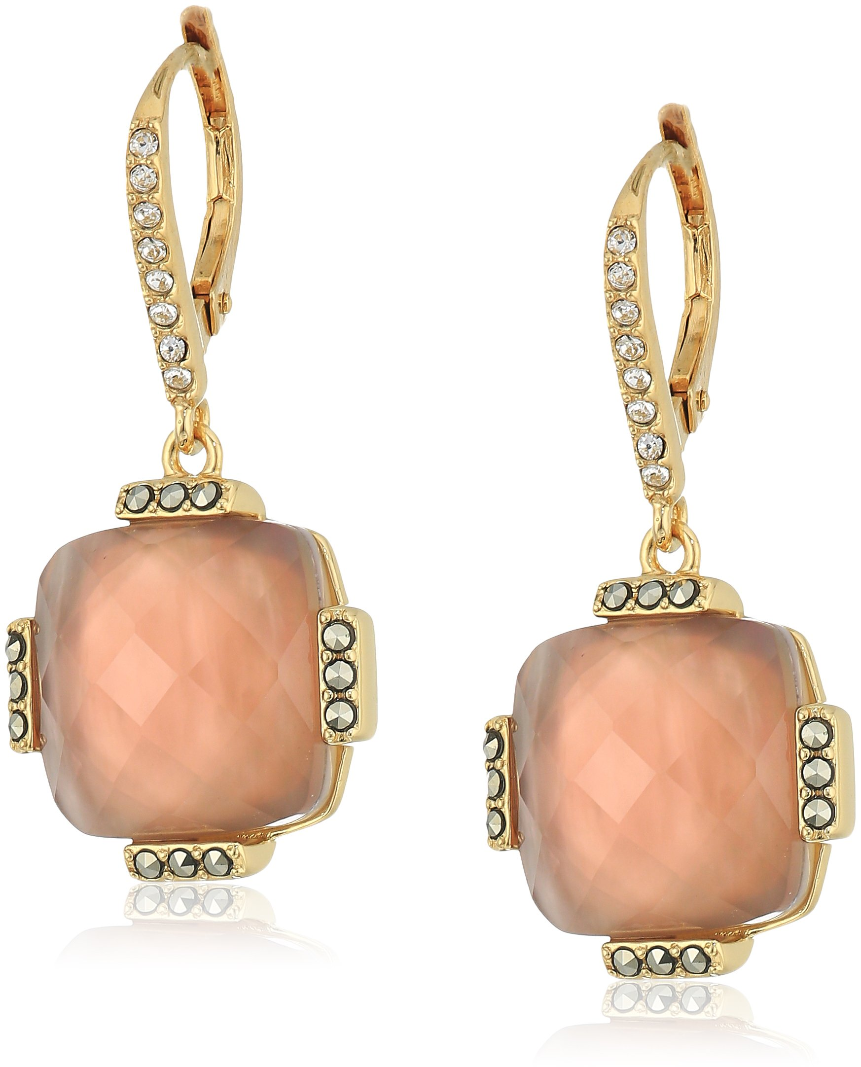judith jack 10k gold plated sterling silver and pink leverback drop earrings