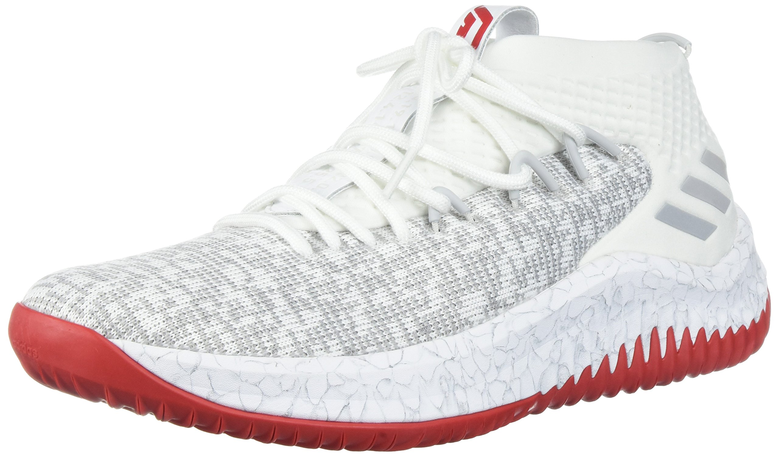 adidas Dame 4 Shoe Men's Basketball, Cloud White/Grey/Scarlet, 10 M US by adidas