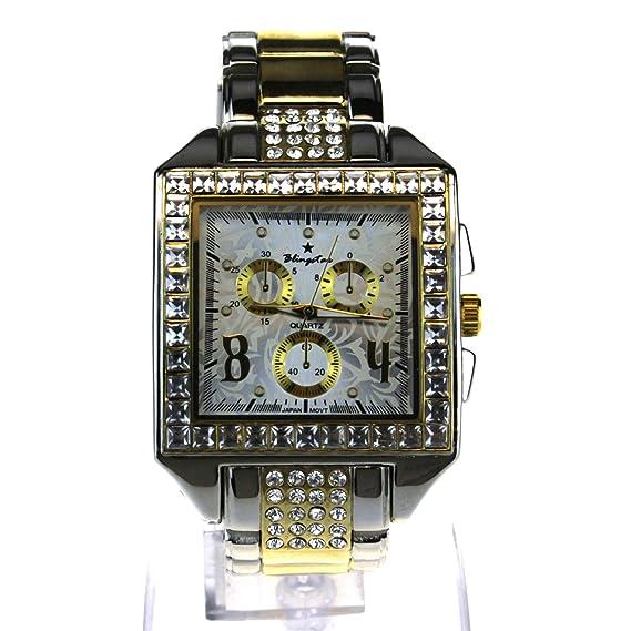 Nouveau - Reloj de pulsera para hombre, diseño rectangular con diamantes de imitación