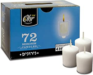 Ohr 4 Hour Neironim Candles - Shabbat and Small Votive Wax Candle - 72 Count
