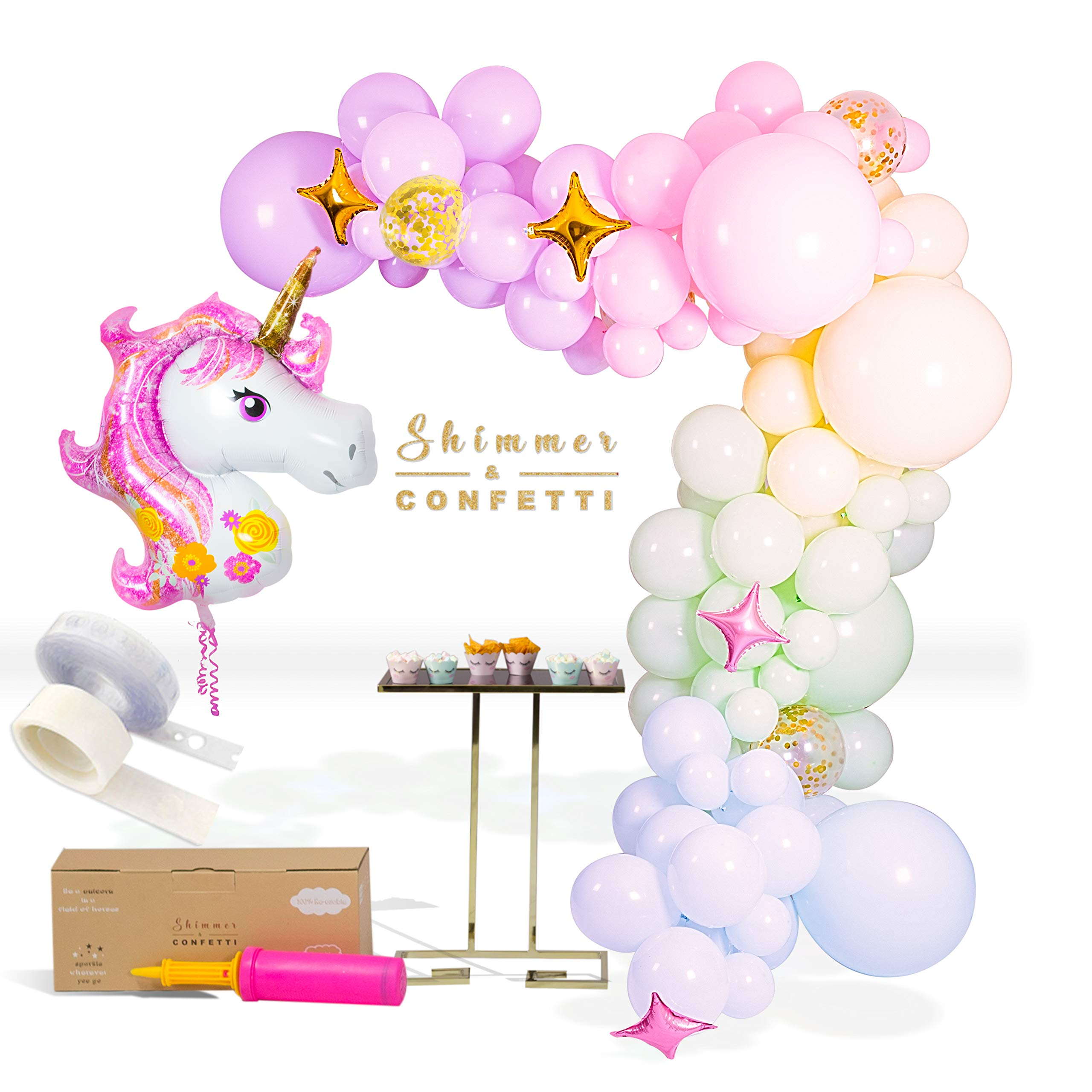 Shimmer and Confetti 133 Pack 16 Foot Premium Pastel Unicorn Balloon Arch and Garland Kit with Pink, Purple, Yellow, Green, Blue Balloons, Confetti Balloons, 16 Foot Balloon Strip, Glue Dots, Pump