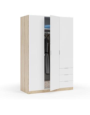 Habitdesign - Armario ropero de Tres Puertas y Tres cajones, Medidas 180x121x52 cm de Fondo