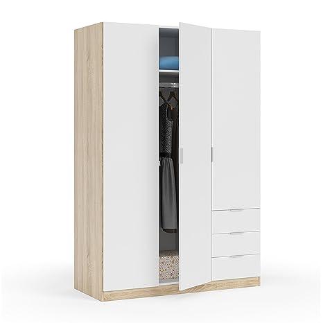 Habitdesign LC1323F - Armario ropero de Tres Puertas y Tres cajones, Medidas 180x121x52 cm de Fondo (Blanco Artik y Roble Canadian)