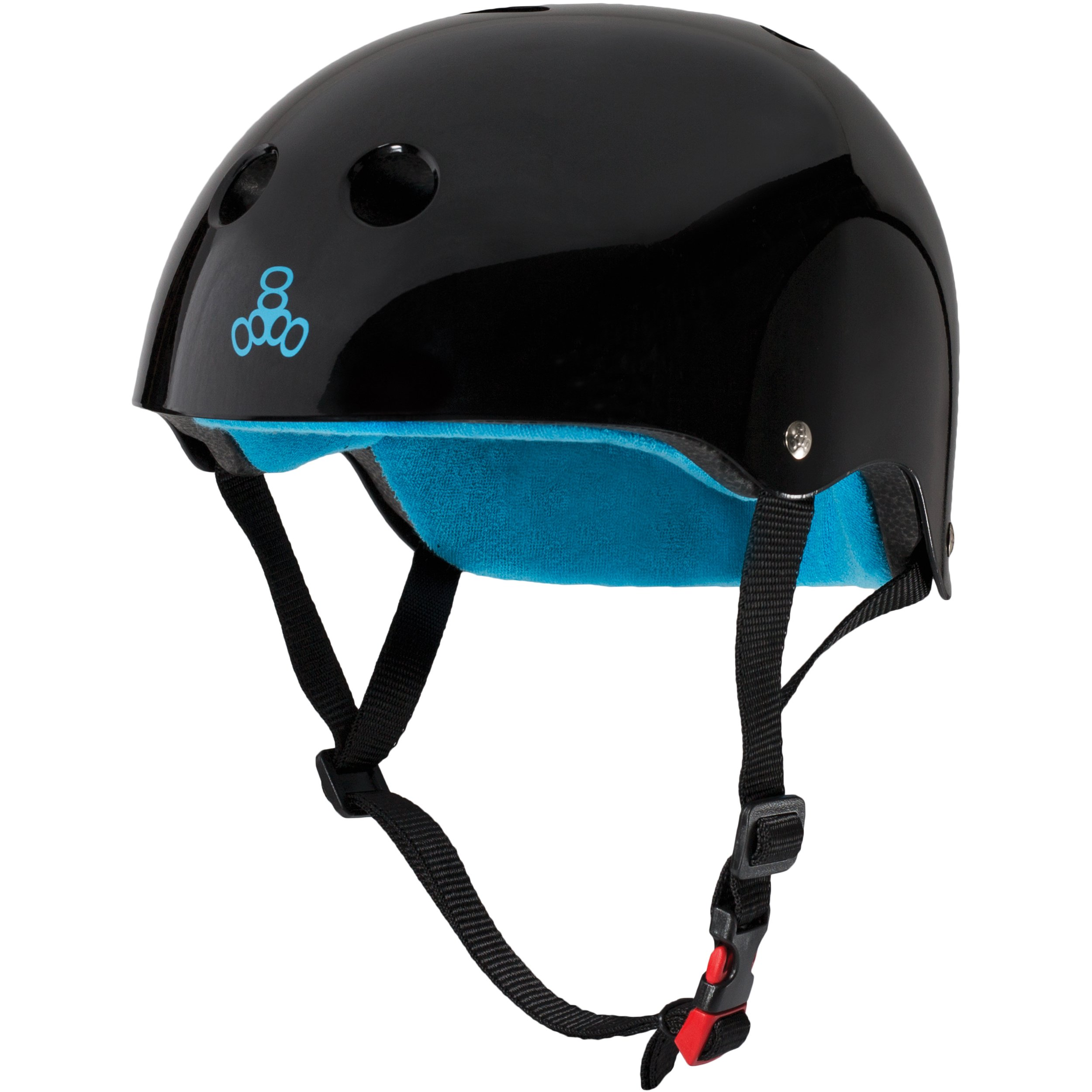 Triple Eight THE Certified Sweatsaver Helmet for Skateboarding, BMX, and Roller Skating, Black Glossy, Small / Medium