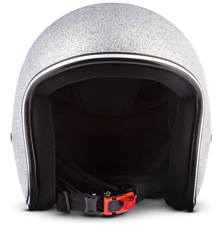 "Rebel R2 /""Shiny Black/"" /· Jet-Helm /· Motorrad-Helm Roller-Helm Scooter-Helm Bobber Mofa-Helm Chopper Retro Cruiser Vintage Pilot Biker Helmet /· Fiberglas Schnellverschluss SlimShell Tasche S 55-56cm"