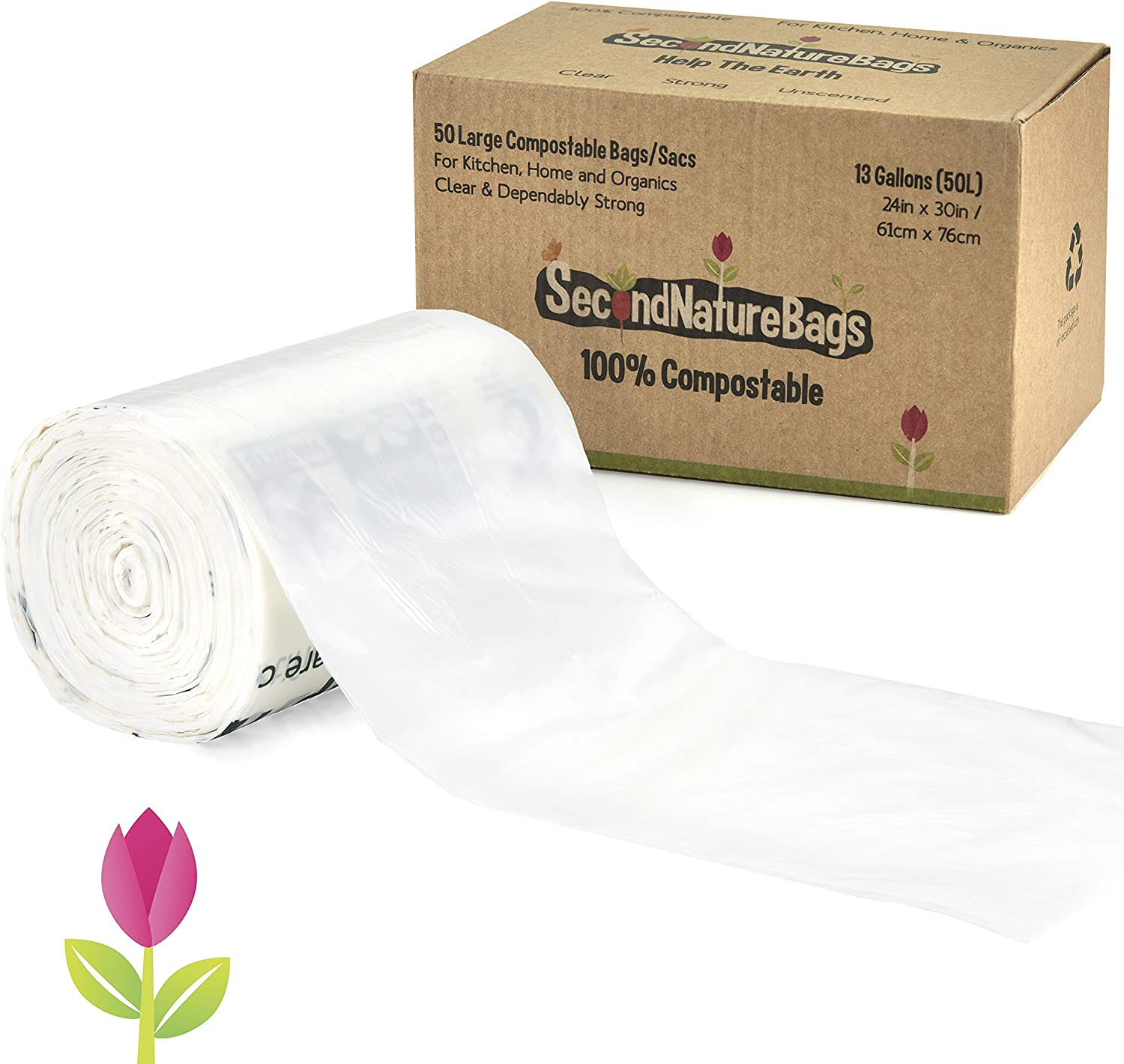 Second Nature Bags, Premium Certified 100% Compostable Biodegradable, 13 Gallon, 50 Bags, Large Kitchen Food Scraps & Home Trash Bags