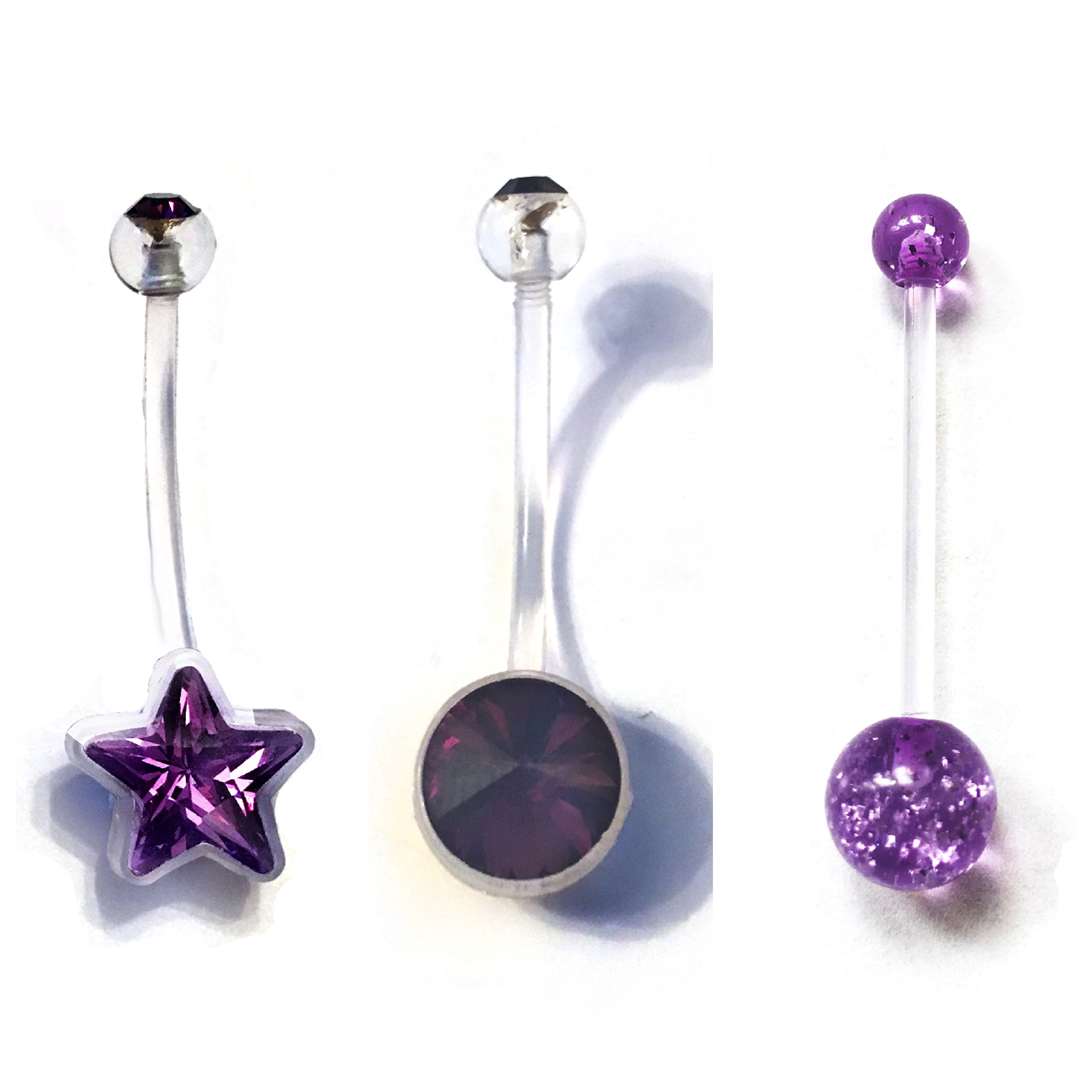 Loving My Bump Set of 3 Blue Pink Unisex Purple Girl/Boy Sets Pregnancy Maternity Belly Navel Bars bar PFTE Flexible Retainers Flexible Jewel, Glitter, Star or more choose (Purple star set)