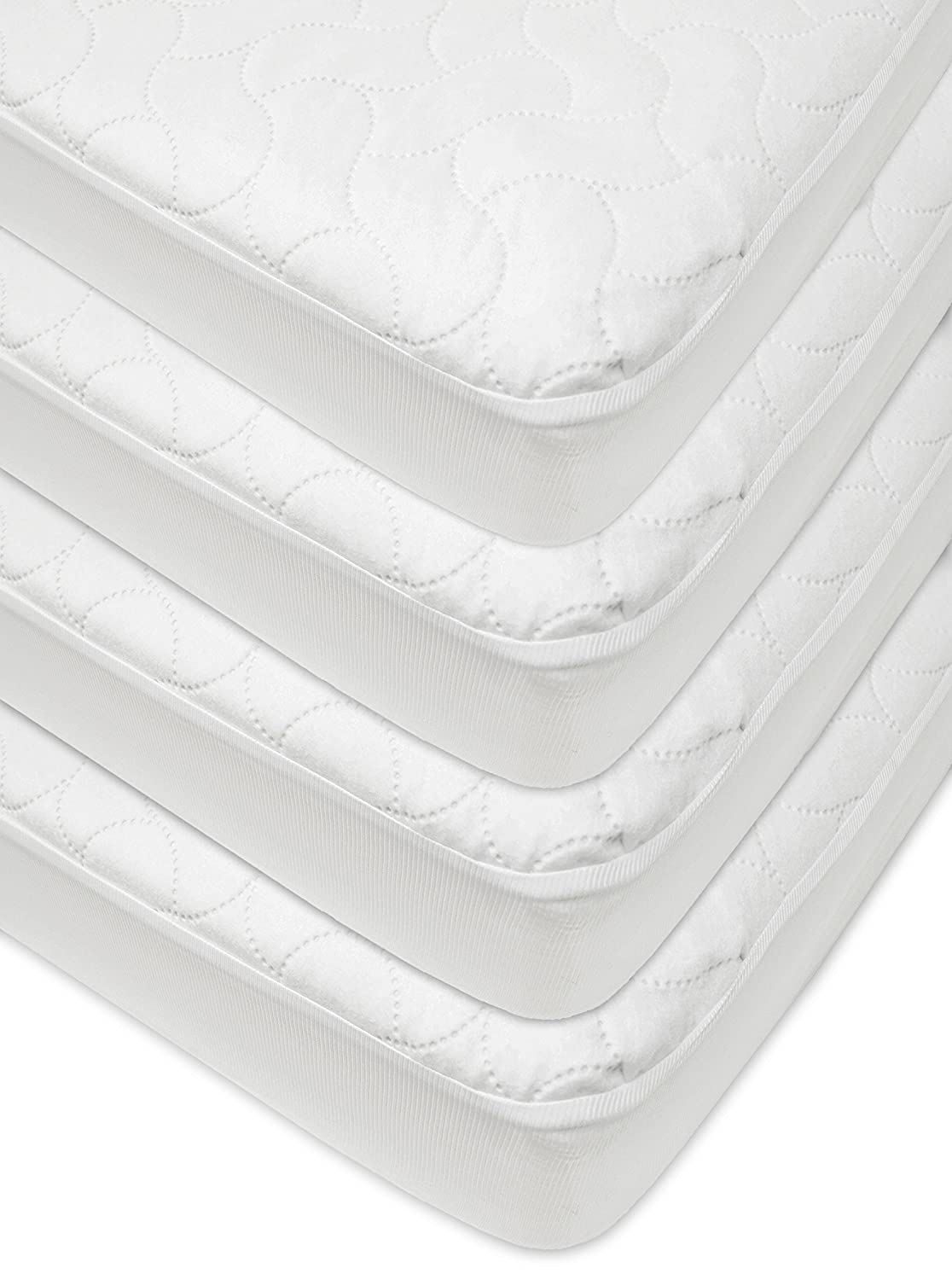 American Baby Waterproof Fitted Quilted Crib and Toddler Protective Pad Cover, White, 4 Piece American Baby Company 42863-WT