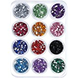 eBoot 12 Colors Nail Art Decorations Nail Stone Rhinestones with 12 Pack Small Container Pots, 6000 Pieces