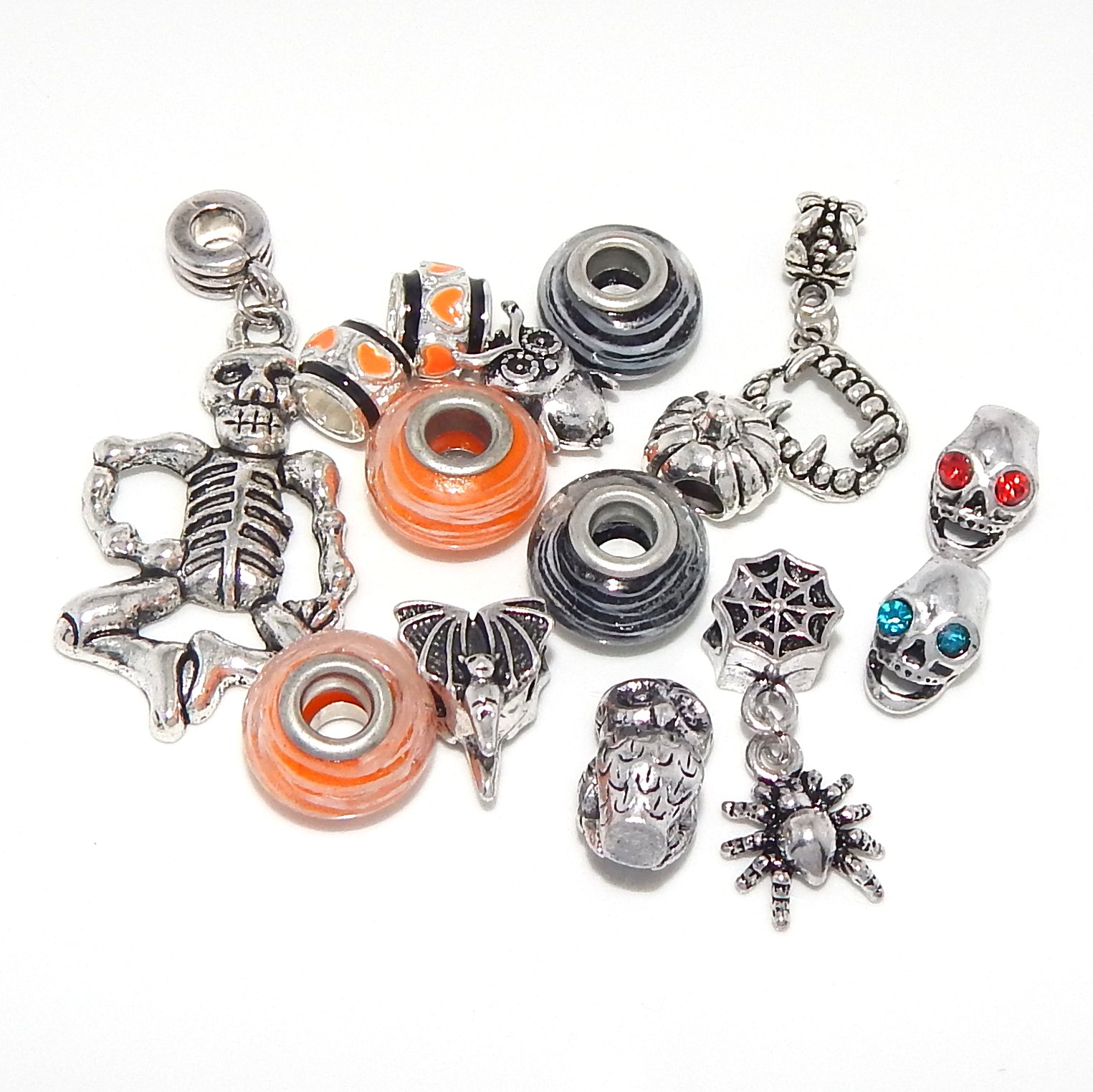 Jewelry Monster -Set of 15- Mixed Metal and Glass Halloween Charm Beads
