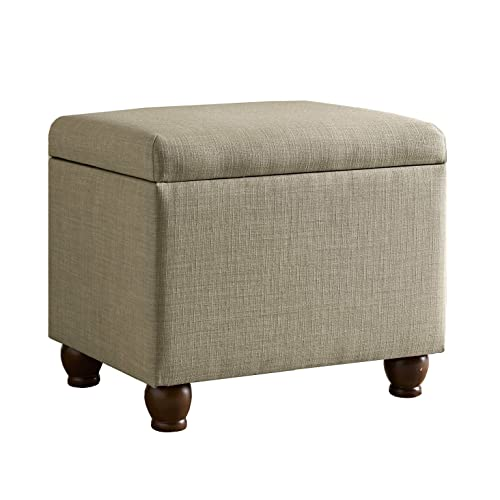 HomePop Rectangular Deep Storage Ottoman with Hinged Lid, Tan Linen