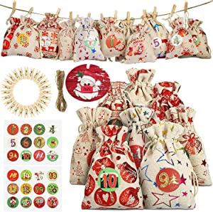 YoYo Garden Wrap Bags 24 Days Countdown Burlap Hanging Advent Calendars Christmas Decorations Xmas Supplies with Hanging Ornaments (Beige)