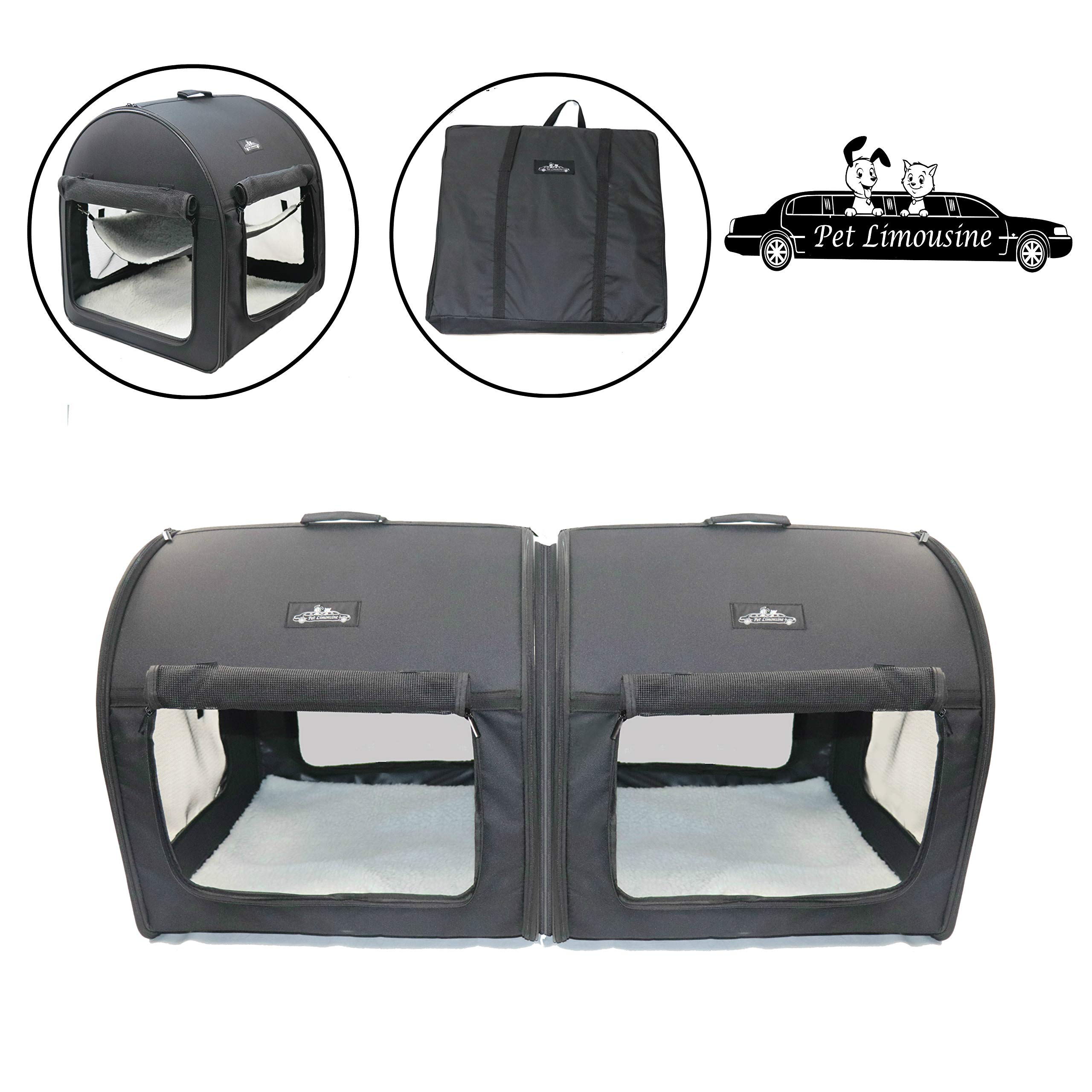 Double Pet Crate Soft and Portable Kennel Carrier The Dog and Cat Travel Tube by Pet Limousine