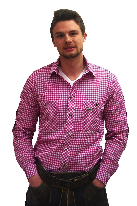 Klassisches Herren Trachtenhemd beere lila weiß kariert Peine Herrenhemd Slim Fit Langarm lila