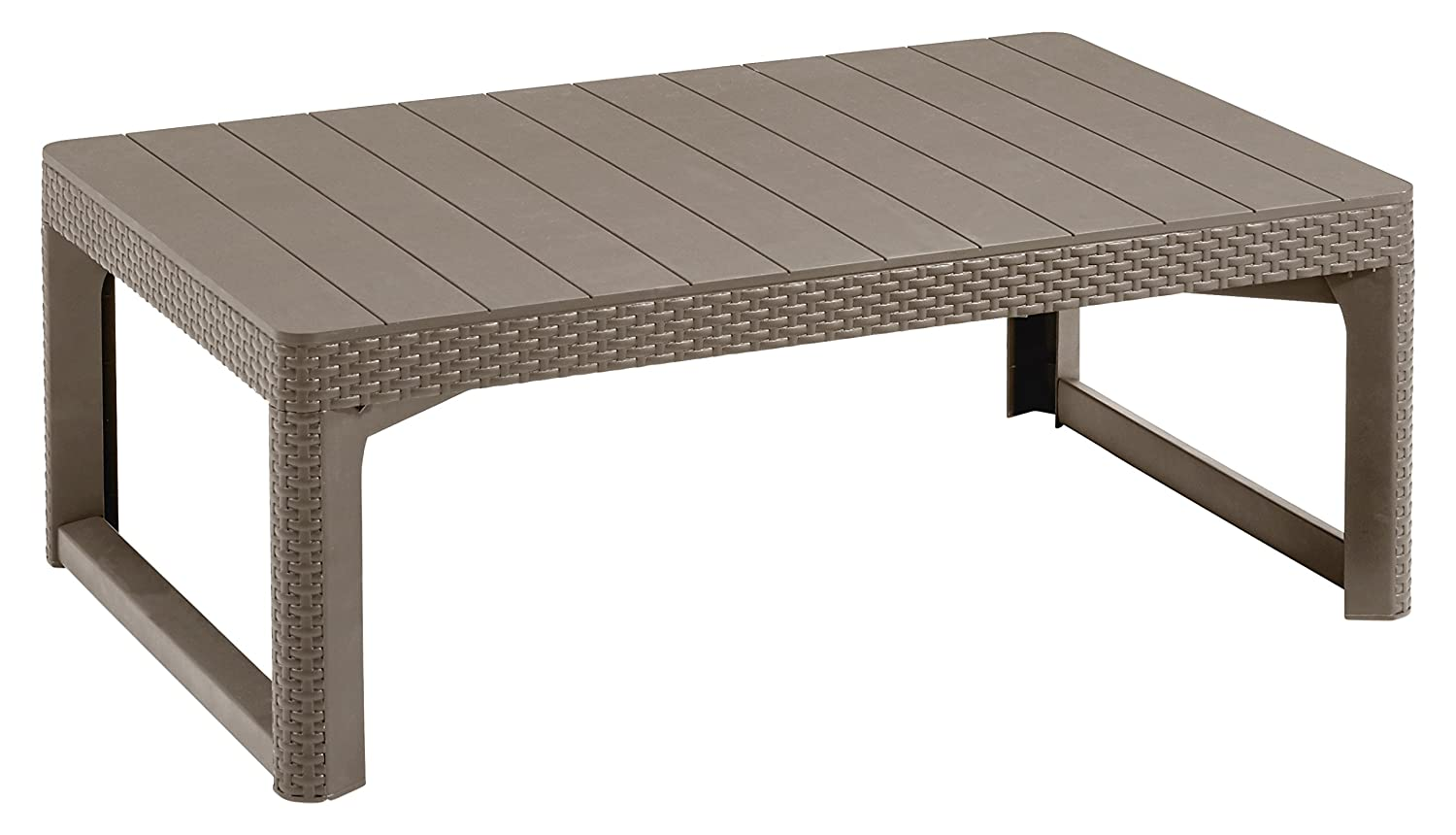 Keter Allibert Wicker Effect Lyon 2-in-1 Outdoor Garden Dining/Coffee Table - Cappuccino 232296