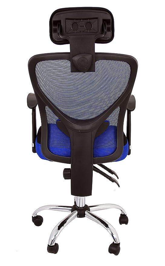 La Silla Española Ronda Silla de Oficina con Reposacabezas, Poliéster y Rejilla, Azul, 66x62x125 cm