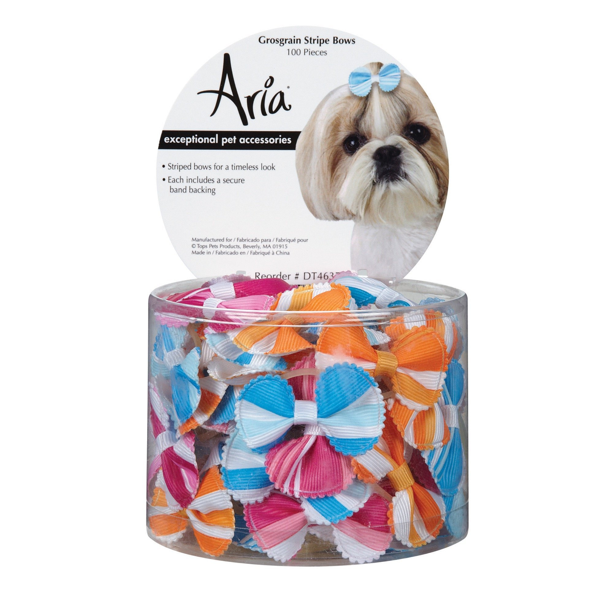 Aria Grosgrain Stripe Bows for Dogs, 100-Piece Canisters by Aria