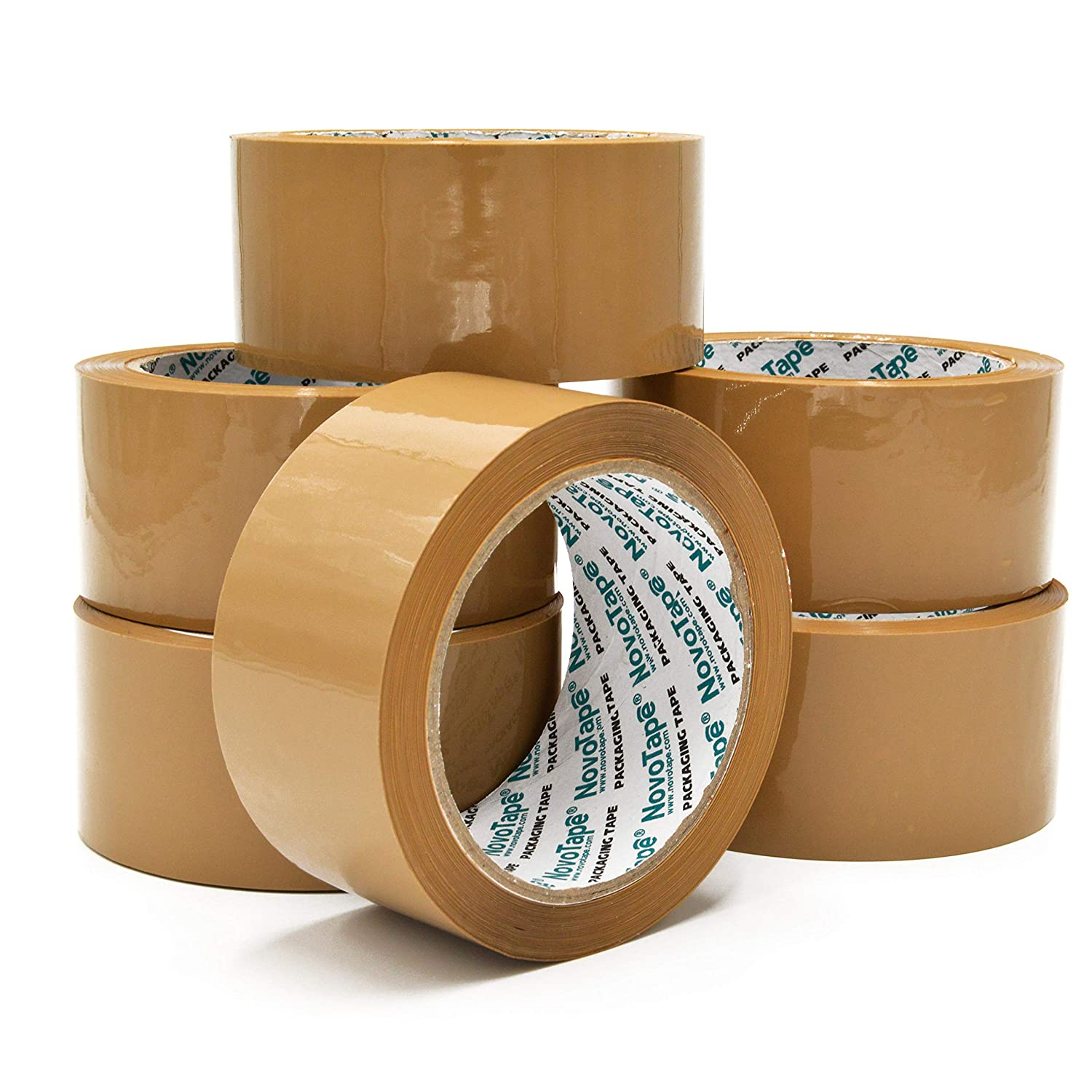 NOVOTAPE Heavy Duty Brown Packaging Tape 6 Rolls 48mm x 66m For Strong, Secure and Sticky Seal For Packing Parcels and Boxes POWERFUL TOOLS LTD NTPT486645B