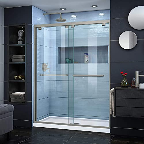 DreamLine Encore 50-54 in. W x 76 in. H Semi-Frameless Bypass Shower Door in Brushed Nickel, SHDR-1654760-04