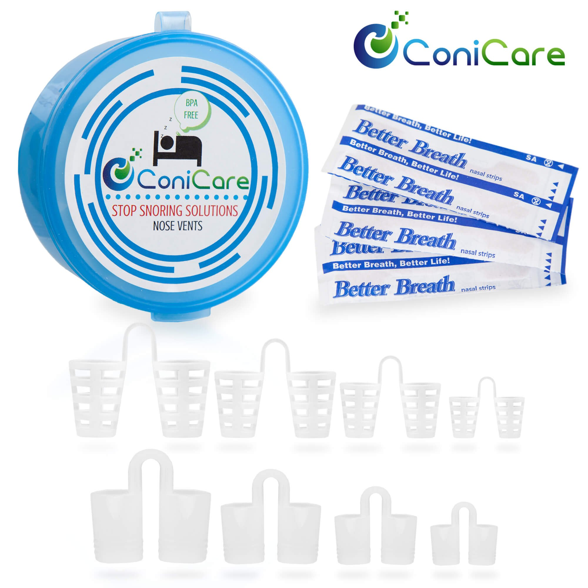 Conicare Snoring Solution Nose Vent Snore Stopper Kit with Nasal Dilator Strips and Ebook - Natural Premium Anti Snoring Device is Comfortable and Provides Instant Relief 19 Piece Value Kit Aid