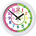 """EasyRead Time Teacher Children's Wall Clock with simple 3 Step Teaching System. 12"""" dia, learn to tell the time, ages 5-12."""