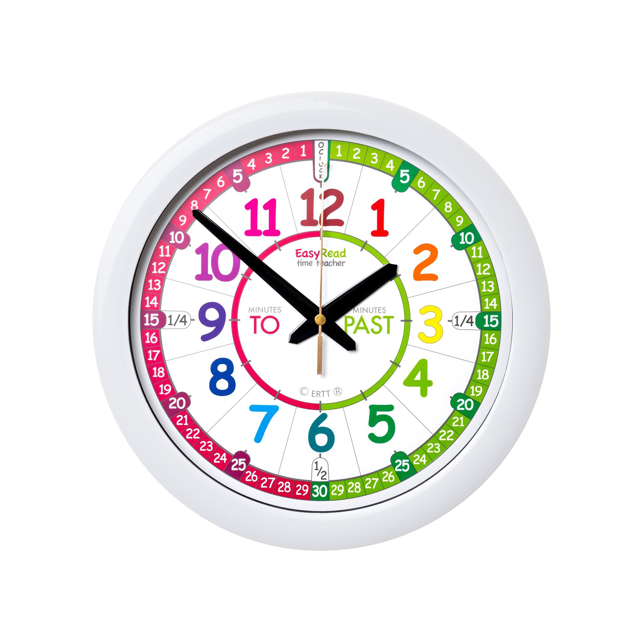 EasyRead Time Teacher Children's Wall Clock with simple 3 Step Teaching System. 12'' dia, learn to tell the time, ages 5-12.