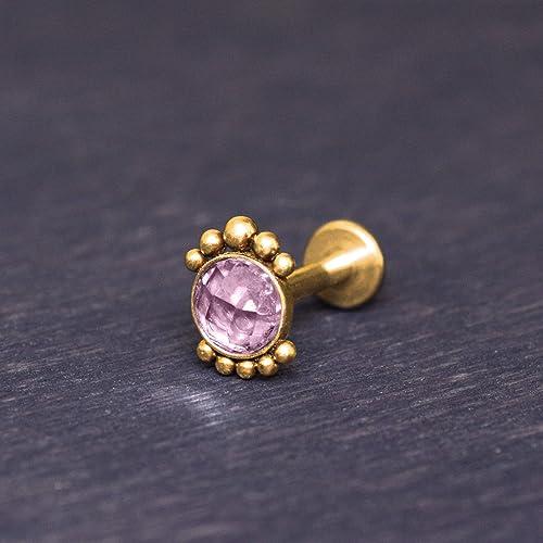Lip Ring Surgical Steel Labret Piercing Jewelry Opal Medusa Piercing Jewelry Internally Threaded Monroe Stud
