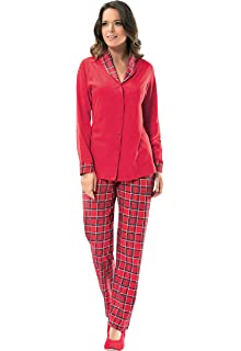 nbb womens holiday sleepwear 2 piece christmas pajama set cotton long sleeves - Womens Christmas Nightgowns