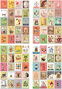 10 Packs Of Adhesive Stickers Vintage Post Stamps Decorative Stickers 800PCS