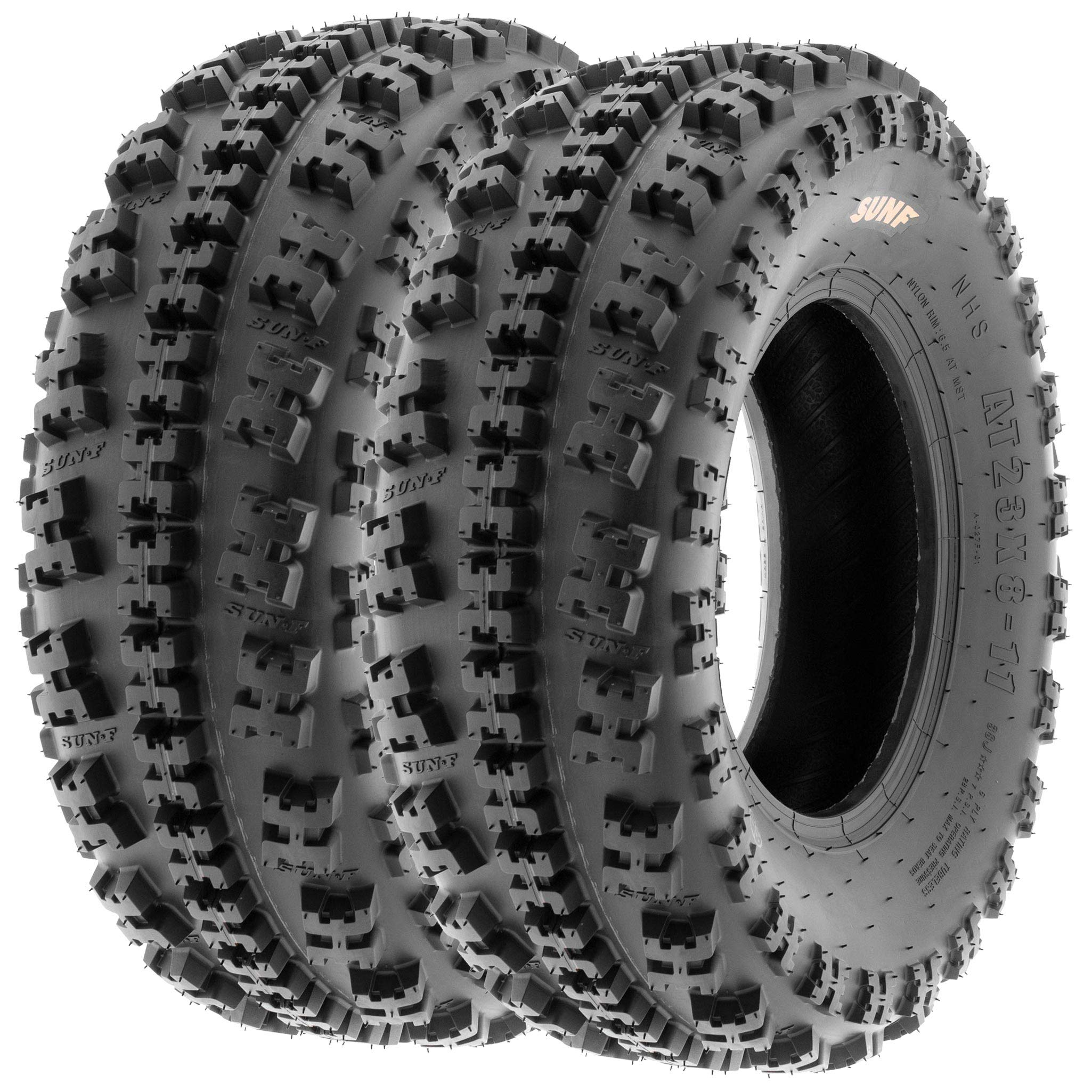 Set of 2 SunF A027 XC ATV UTV Knobby Sport Tires 19x7-8, 6 PR, Tubeless by SUNF