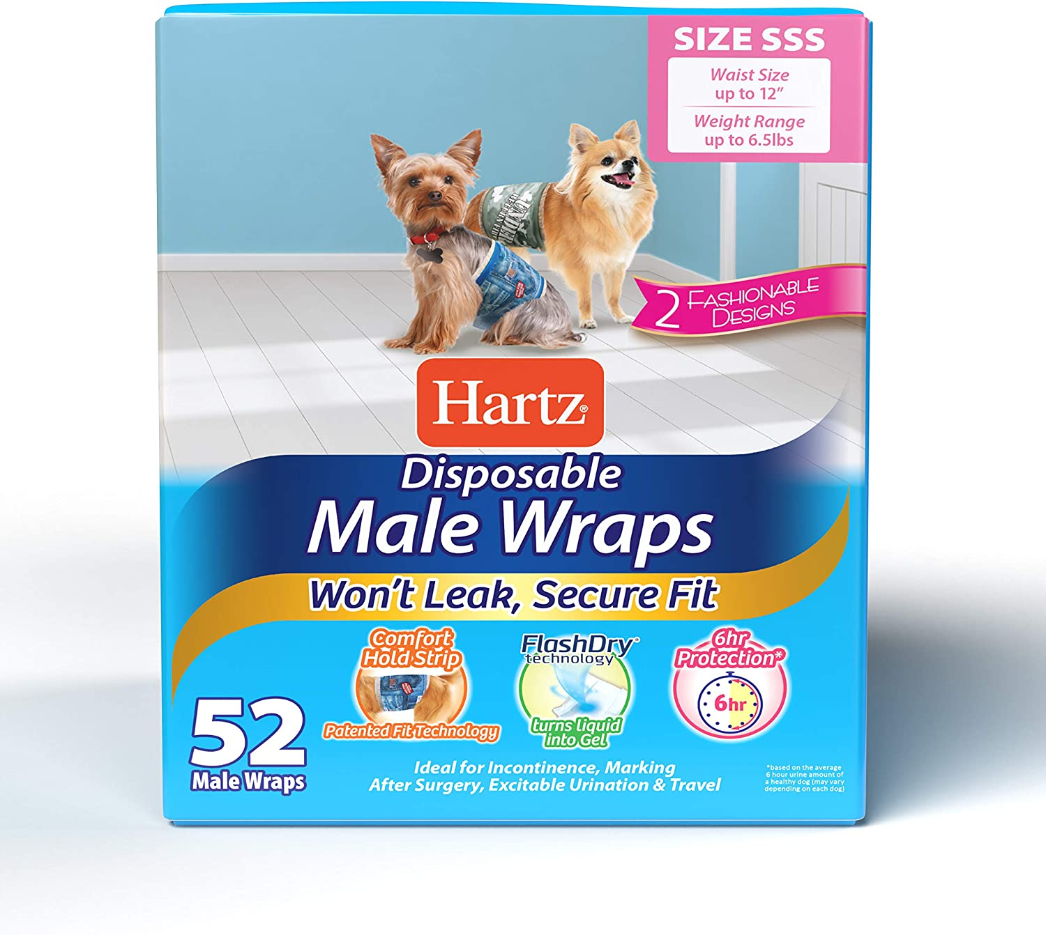 Hartz Disposable Dog Diapers and Male Wraps - Highly Absorbent for Leak Proof Protection