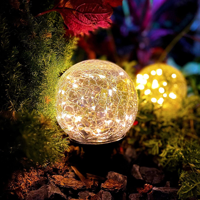Solar Lights Outdoor Garden, Pathway Solar Lights, Cracked Glass Ball Waterproof Warm White LED Solar Lights Outdoor Decorative for Walkway Patio Yard Lawn, 1 Globe