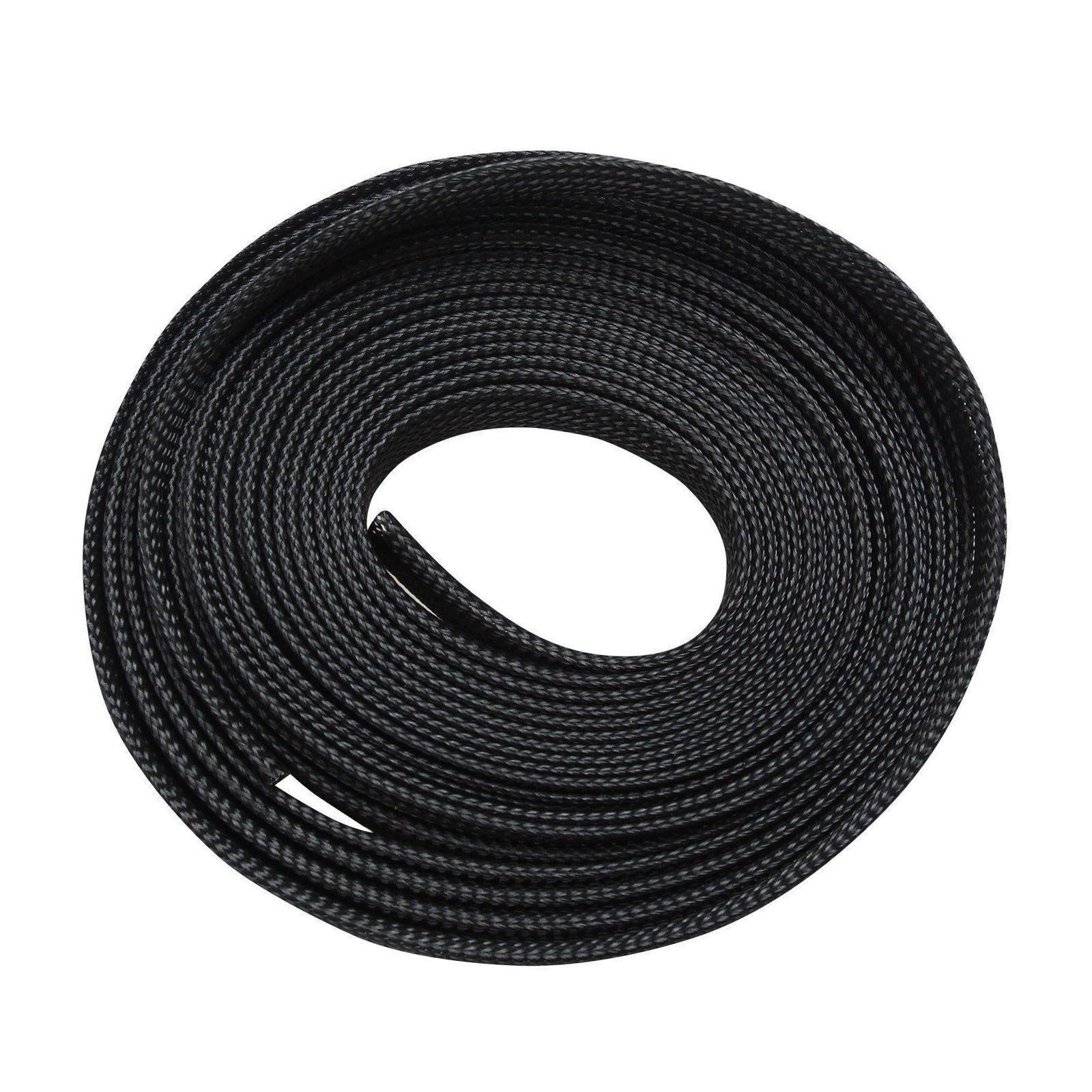 100 Feet 1/2 Expandable Wire Cable Sleeving Sheathing Braided Loom Tubing Black