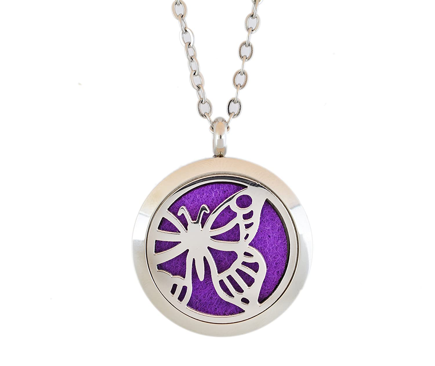 Aromatherapy Essential Oil Diffuser Stainless Steel 30MM Silver Magnetic Locket Pendant with Chain Necklace and Colored Refill Pads & Diffuser Bracelet all in a gift bag (butterfly1)