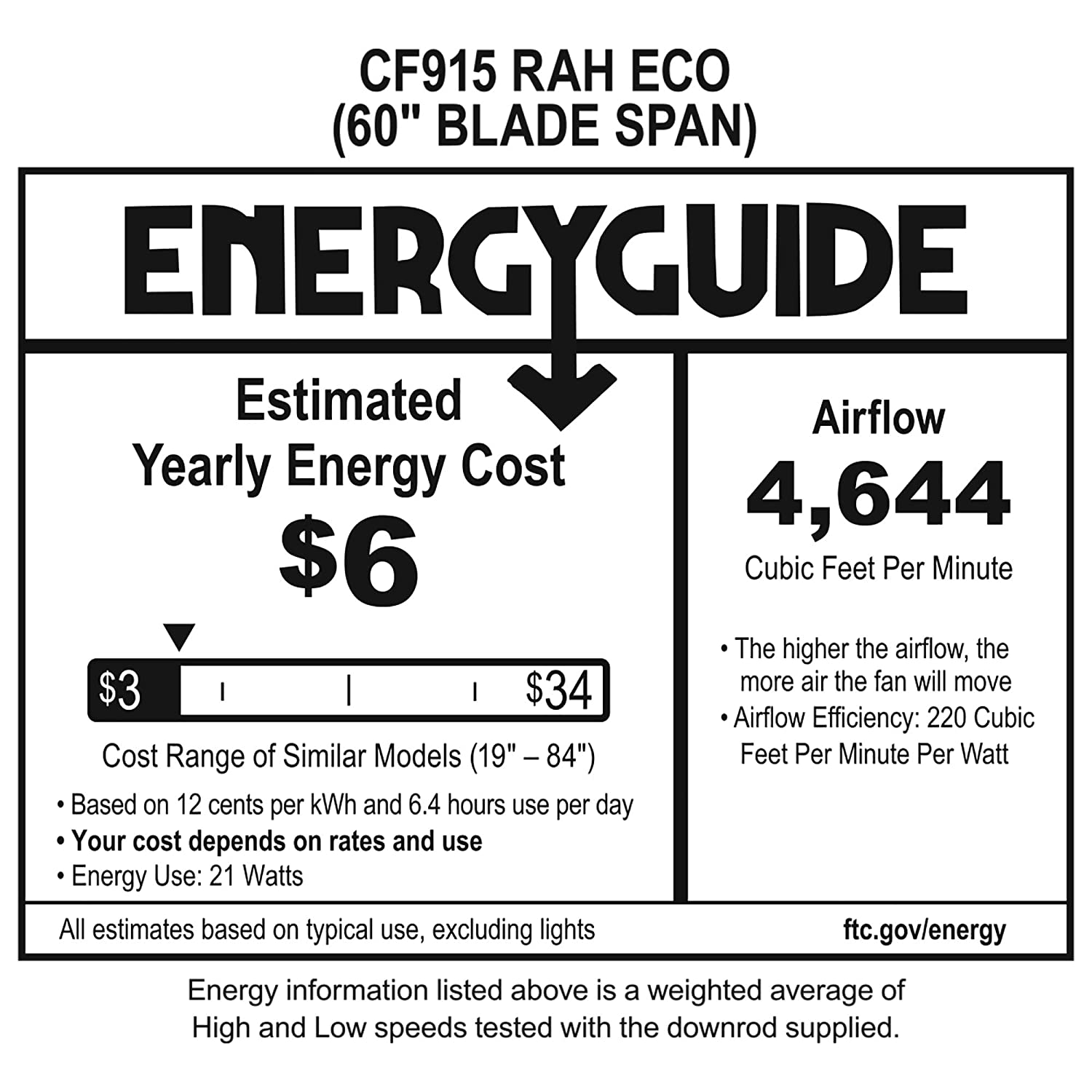 Emerson CF915W60ORB 60-inch Modern Rah Eco Ceiling Fan, 6-Blade Ceiling Fan with LED Lighting and 6-Speed Wall Control
