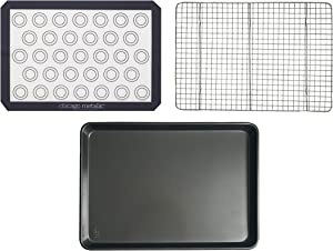 Chicago Metallic 5242741 Non-Stick Jelly Roll Pan with Mat and Cooling Rack, 3-Piece, Gray
